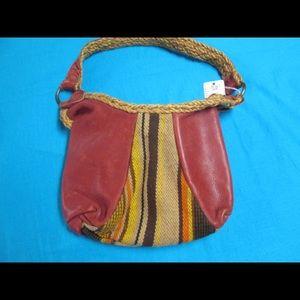 Leather Handbag with Braided Trim